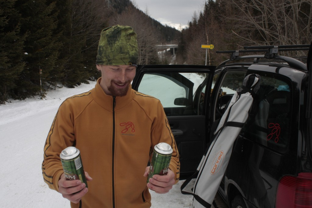 Návrat k autu, kde zamrzlo i pivo